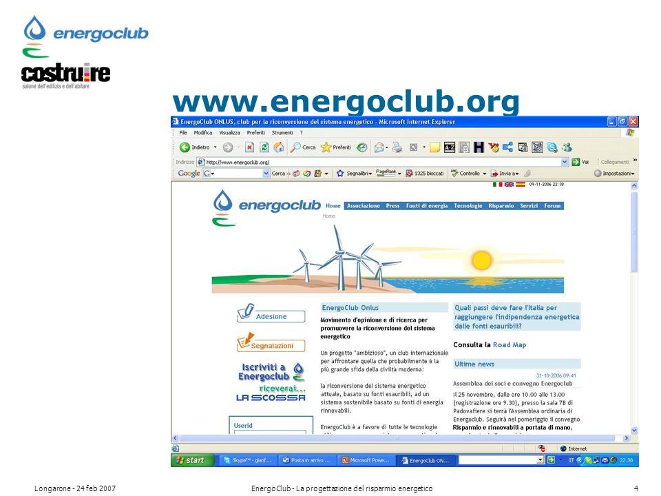 Longarone - 24 feb 2007EnergoClub - La progettazione del risparmio energetico4 www.energoclub.org