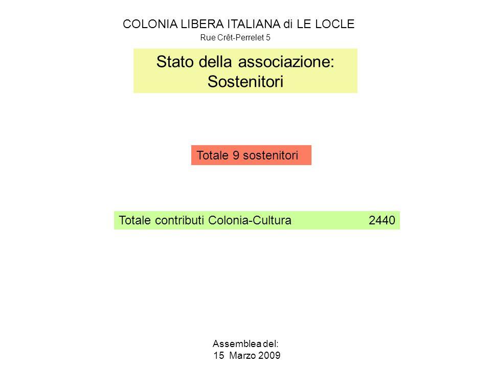 COLONIA LIBERA ITALIANA di LE LOCLE Rue Crêt-Perrelet 5 Assemblea del: 15 Marzo 2009 Stato della associazione: Sostenitori Totale 9 sostenitori 2440Totale contributi Colonia-Cultura