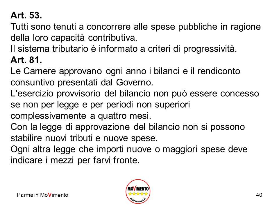 Parma in MoVimento40 Art. 53. Tutti sono tenuti a concorrere alle spese pubbliche in ragione della loro capacità contributiva. Il sistema tributario è