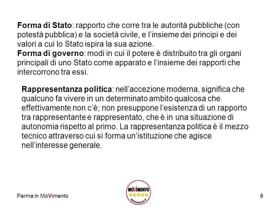 6 Forma di Stato: rapporto che corre tra le autorità pubbliche (con potestà pubblica) e la società civile, e linsieme dei principi e dei valori a cui