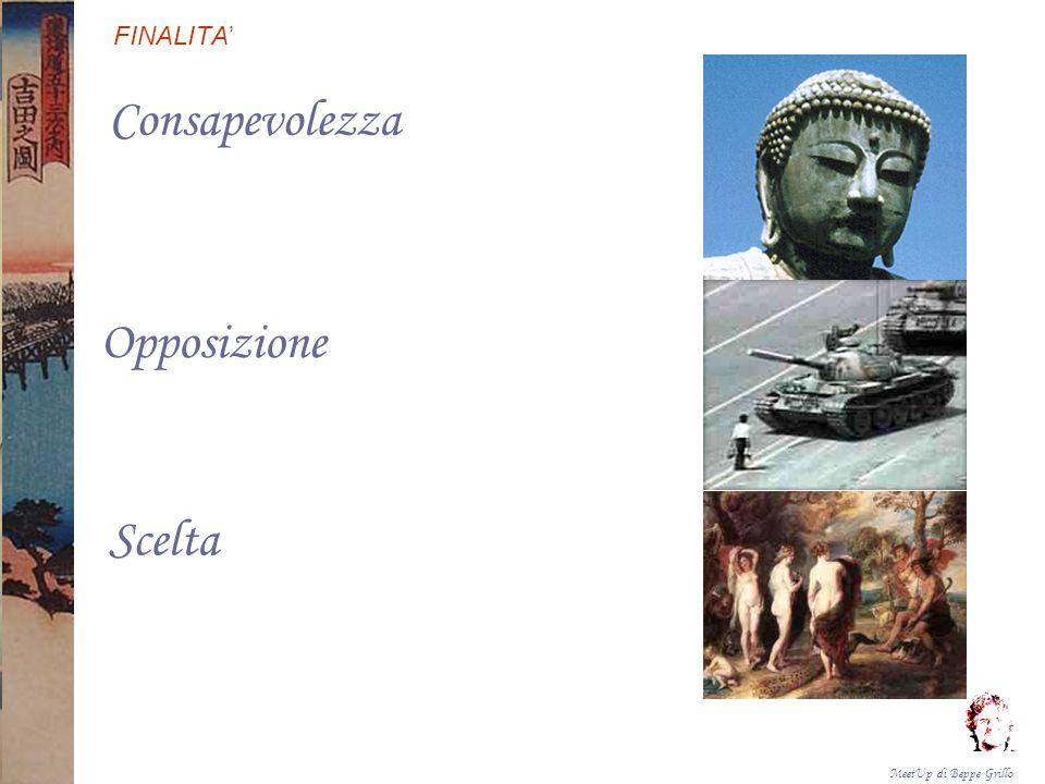 MeetUp di Beppe Grillo FINALITA Consapevolezza Opposizione Scelta Formulare proposte concrete finalizzate all attuazione a breve, media e lunga scadenza, di azioni di scelta critica riguardo allacqua da parte di singoli cittadini e di gruppi.
