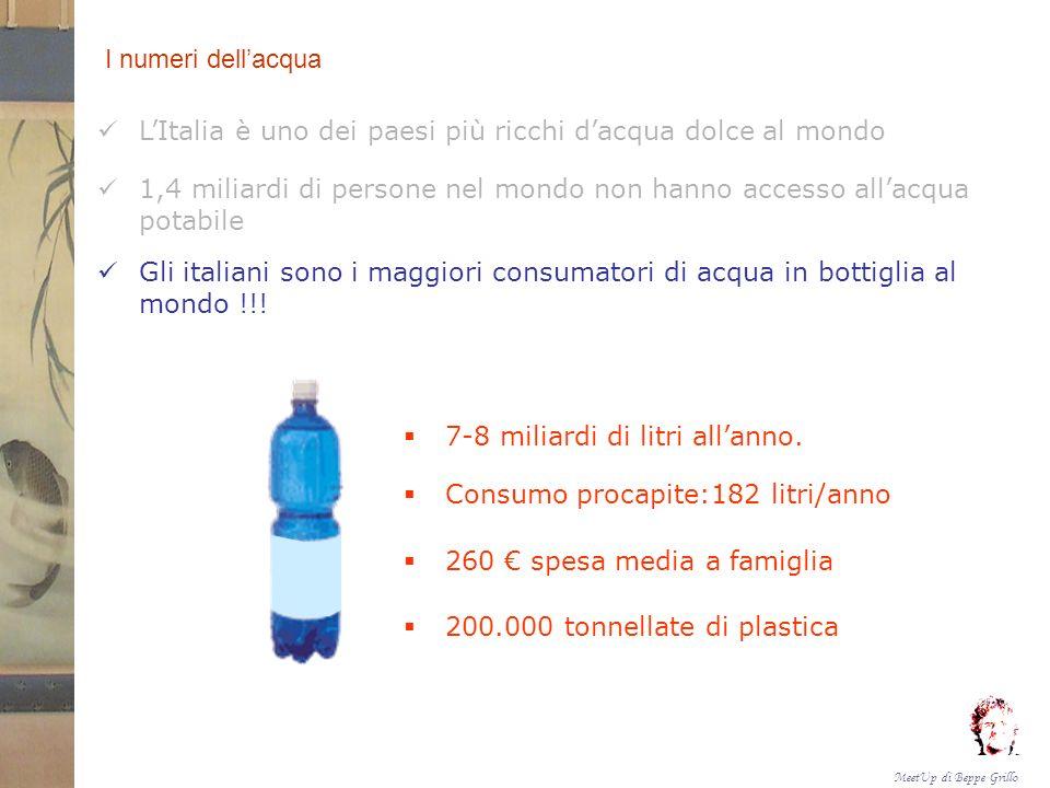 MeetUp di Beppe Grillo OBIETTIVI Condivisione Cambiamento Ottenere il passaggio dalluso dellacqua in bottiglia a quello dellacqua potabile da un congruo numero di iscritti ai vari MeetUp nazionali.