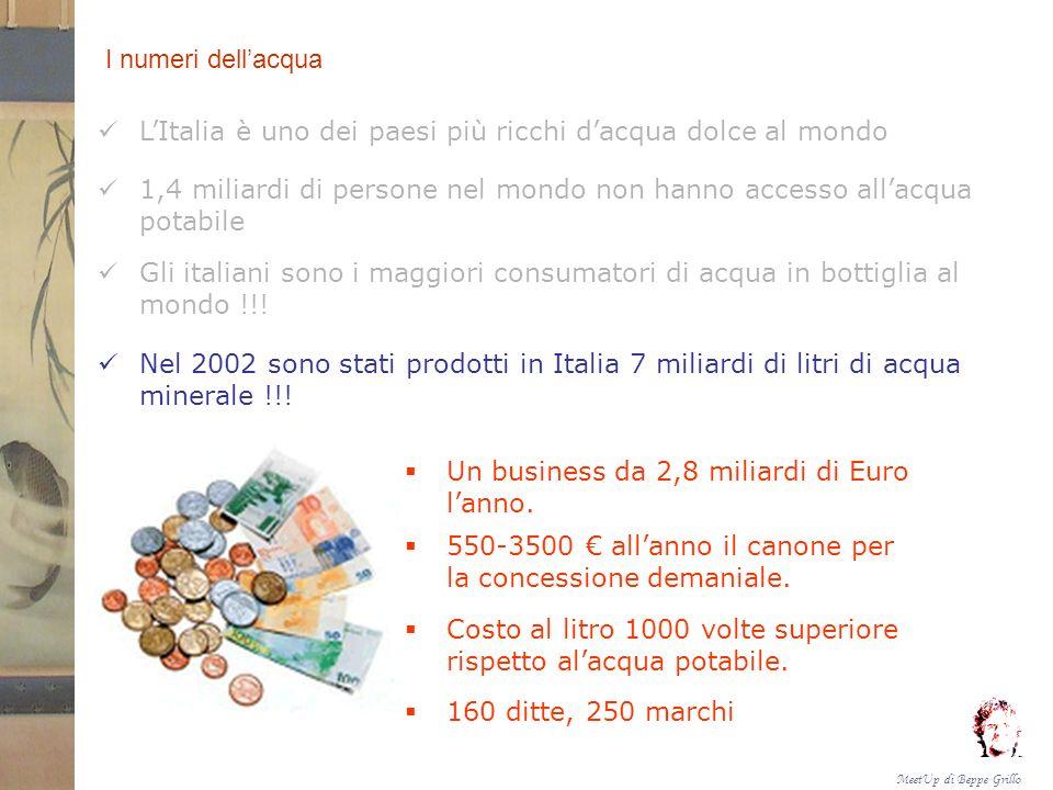 MeetUp di Beppe Grillo I numeri dellacqua LItalia è uno dei paesi più ricchi dacqua dolce al mondo 1,4 miliardi di persone nel mondo non hanno accesso allacqua potabile Gli italiani sono i maggiori consumatori di acqua in bottiglia al mondo !!.
