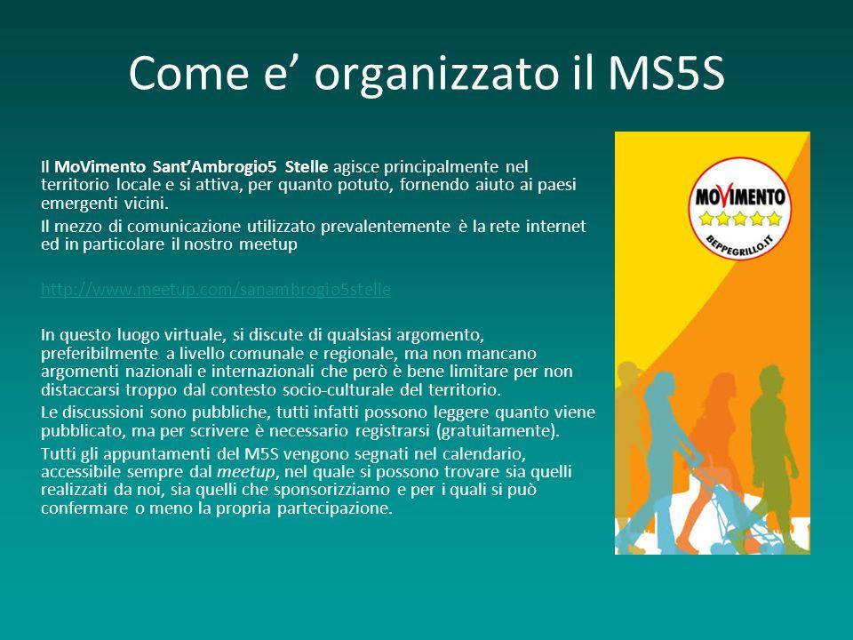 Come e organizzato il MS5S Il MoVimento SantAmbrogio5 Stelle agisce principalmente nel territorio locale e si attiva, per quanto potuto, fornendo aiuto ai paesi emergenti vicini.