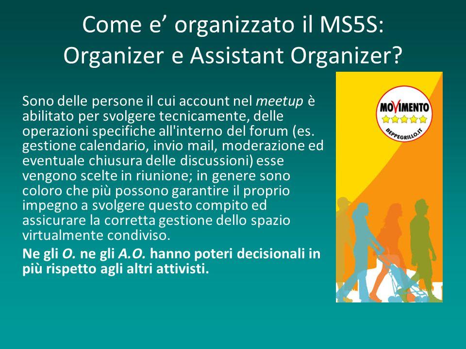 Come e organizzato il MS5S: Organizer e Assistant Organizer.