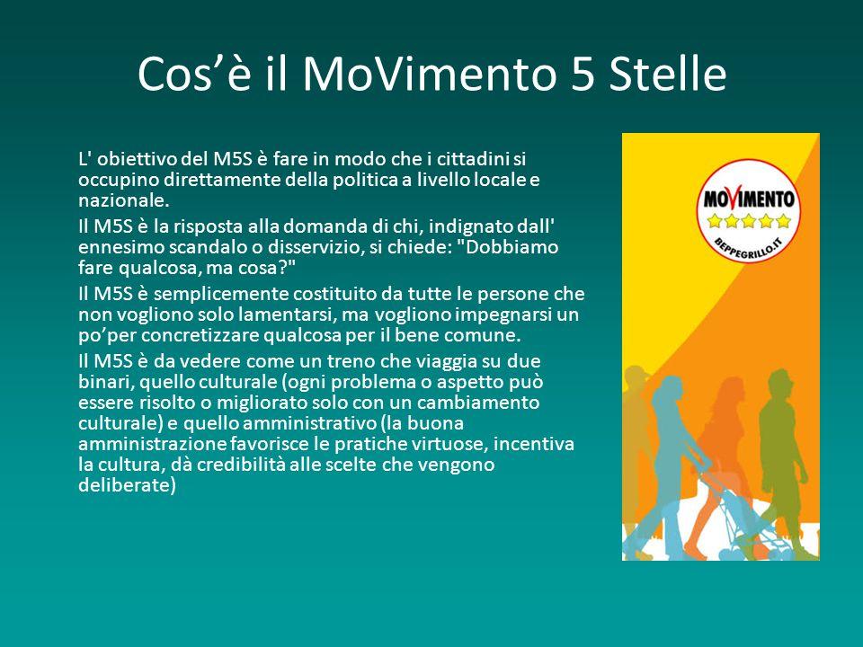 Cosè il MoVimento 5 Stelle L obiettivo del M5S è fare in modo che i cittadini si occupino direttamente della politica a livello locale e nazionale.