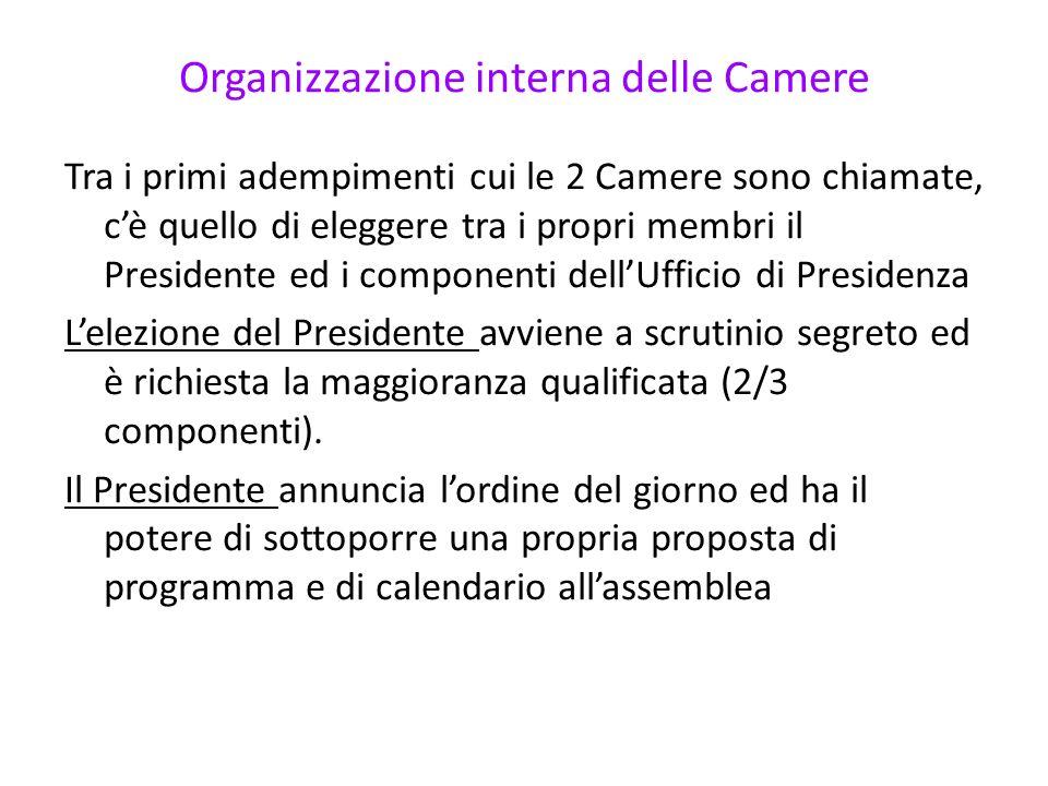 Organizzazione interna delle Camere Tra i primi adempimenti cui le 2 Camere sono chiamate, cè quello di eleggere tra i propri membri il Presidente ed