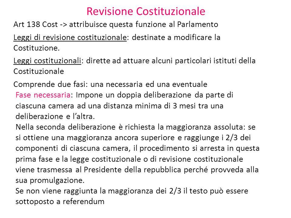 Revisione Costituzionale Art 138 Cost -> attribuisce questa funzione al Parlamento Leggi di revisione costituzionale: destinate a modificare la Costit