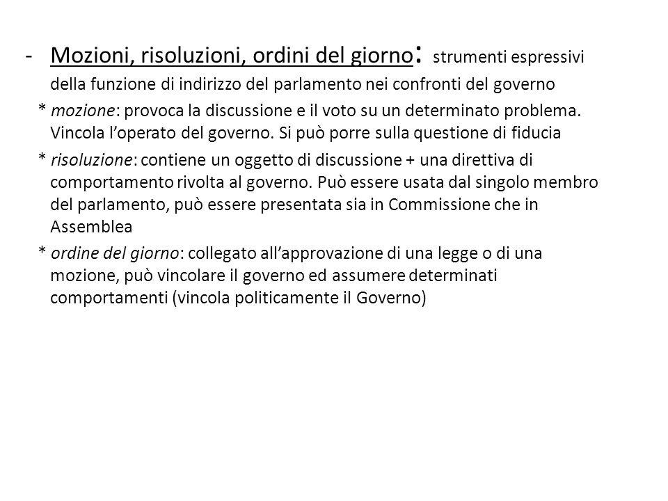 -Mozioni, risoluzioni, ordini del giorno : strumenti espressivi della funzione di indirizzo del parlamento nei confronti del governo * mozione: provoc
