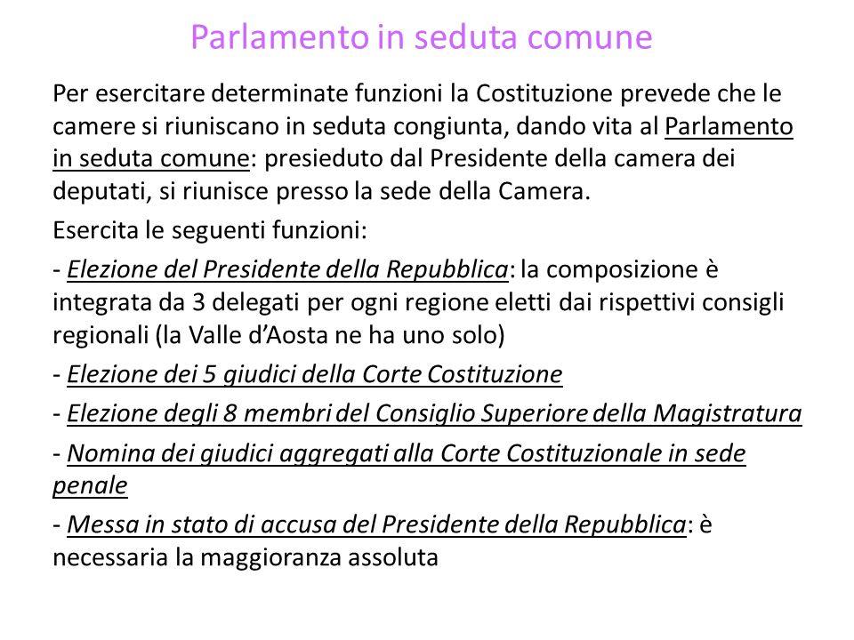 Parlamento in seduta comune Per esercitare determinate funzioni la Costituzione prevede che le camere si riuniscano in seduta congiunta, dando vita al