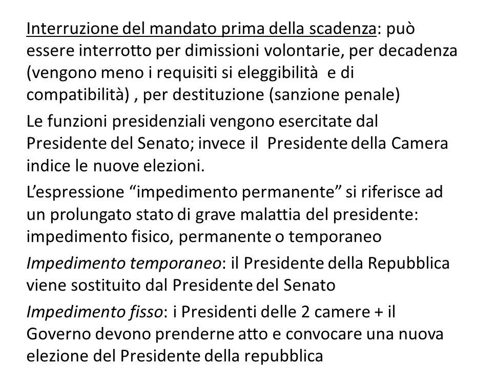 Le funzioni presidenziali vengono esercitate dal Presidente del Senato; invece il Presidente della Camera indice le nuove elezioni. Lespressione imped