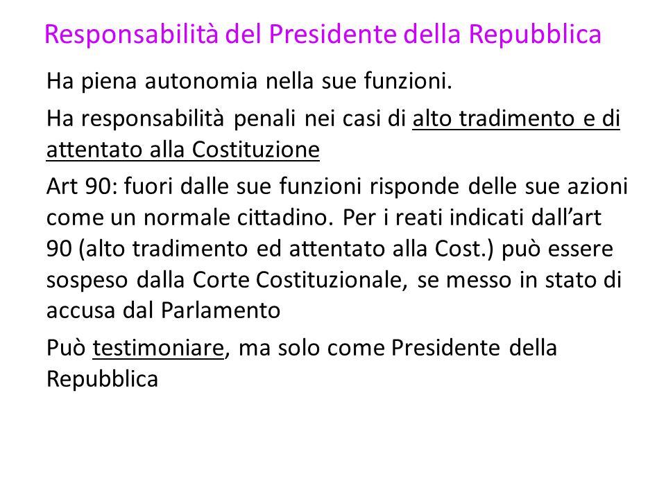 Responsabilità del Presidente della Repubblica Ha piena autonomia nella sue funzioni. Ha responsabilità penali nei casi di alto tradimento e di attent