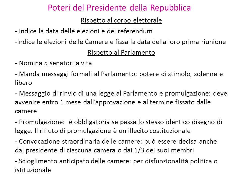Poteri del Presidente della Repubblica Rispetto al corpo elettorale - Indice la data delle elezioni e dei referendum -Indice le elezioni delle Camere