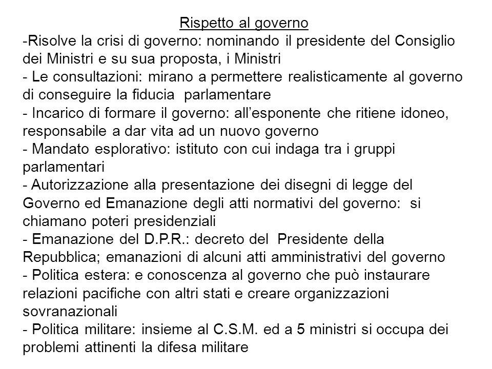 Rispetto al governo -Risolve la crisi di governo: nominando il presidente del Consiglio dei Ministri e su sua proposta, i Ministri - Le consultazioni: