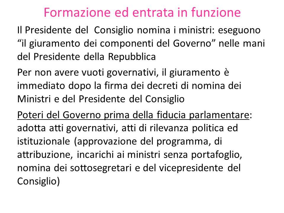 Formazione ed entrata in funzione Il Presidente del Consiglio nomina i ministri: eseguono il giuramento dei componenti del Governo nelle mani del Pres