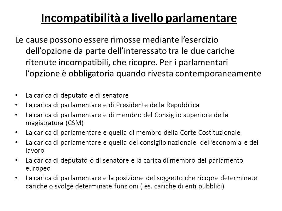 Incompatibilità a livello parlamentare Le cause possono essere rimosse mediante lesercizio dellopzione da parte dellinteressato tra le due cariche rit