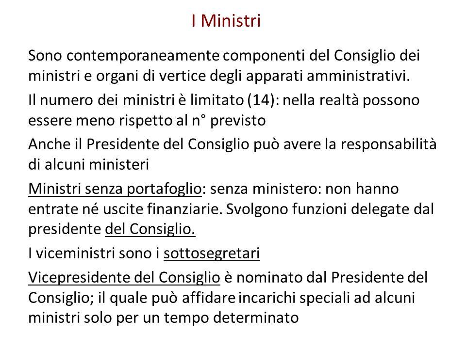 I Ministri Sono contemporaneamente componenti del Consiglio dei ministri e organi di vertice degli apparati amministrativi. Il numero dei ministri è l