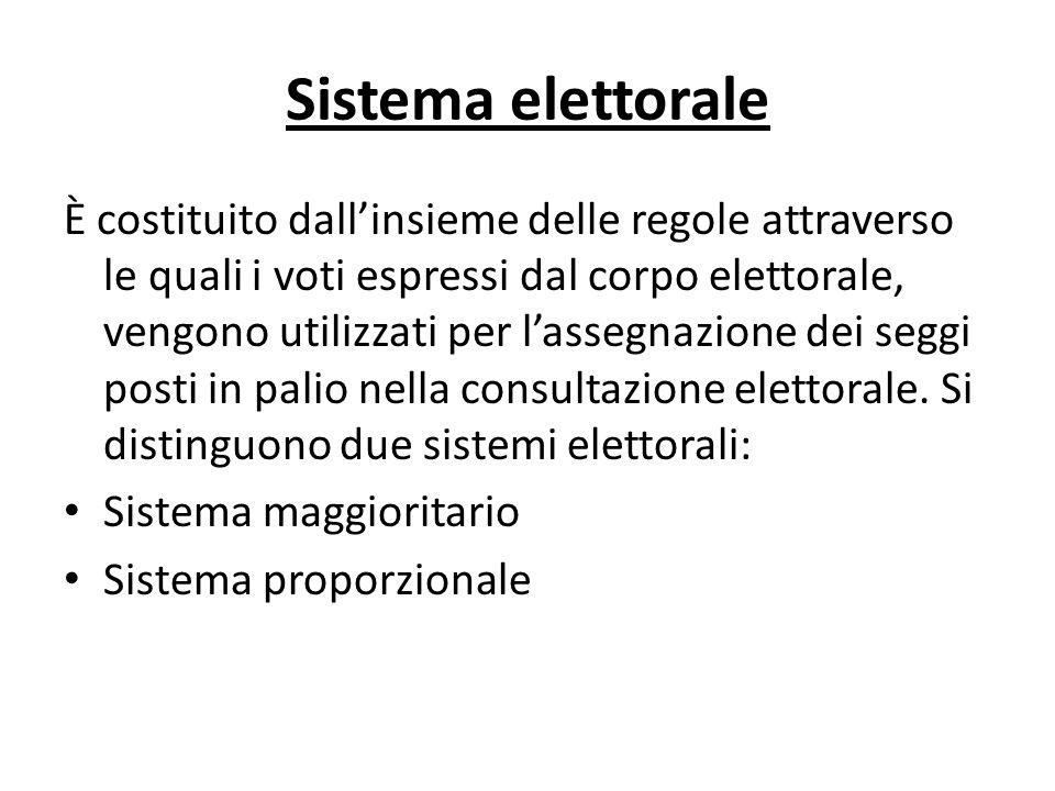 Sistema elettorale È costituito dallinsieme delle regole attraverso le quali i voti espressi dal corpo elettorale, vengono utilizzati per lassegnazion