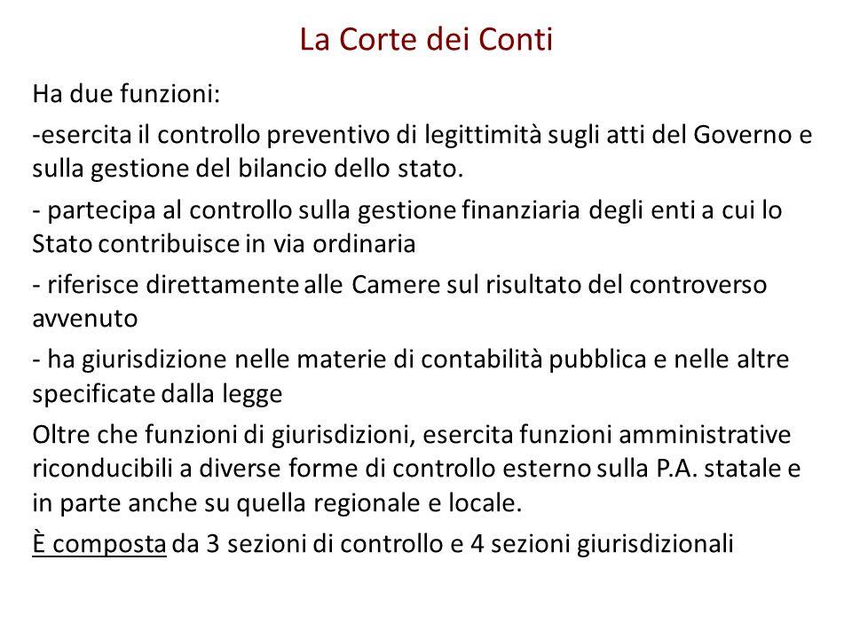 La Corte dei Conti Ha due funzioni: -esercita il controllo preventivo di legittimità sugli atti del Governo e sulla gestione del bilancio dello stato.