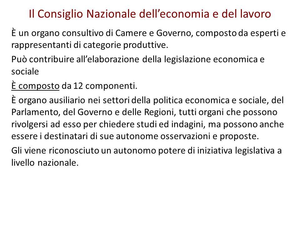 Il Consiglio Nazionale delleconomia e del lavoro È un organo consultivo di Camere e Governo, composto da esperti e rappresentanti di categorie produtt