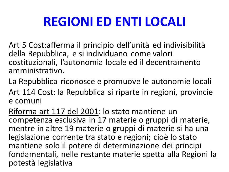 REGIONI ED ENTI LOCALI Art 5 Cost:afferma il principio dellunità ed indivisibilità della Repubblica, e si individuano come valori costituzionali, laut