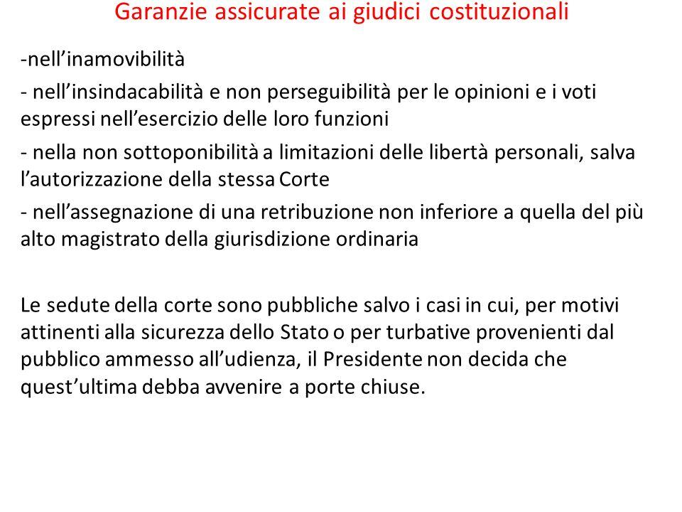Garanzie assicurate ai giudici costituzionali -nellinamovibilità - nellinsindacabilità e non perseguibilità per le opinioni e i voti espressi nelleser