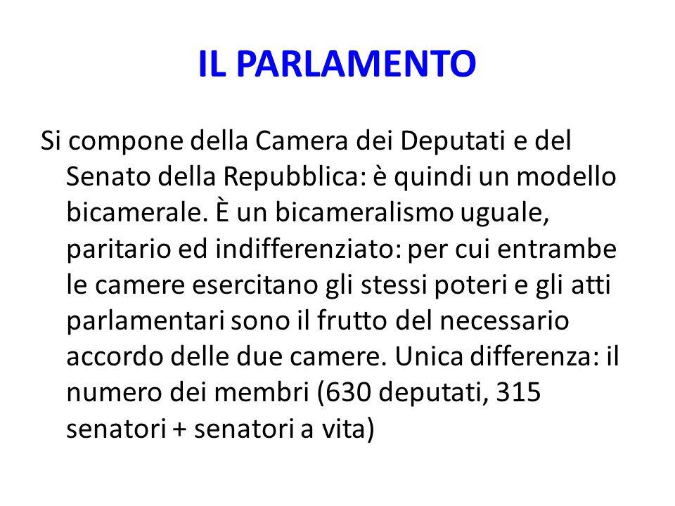 IL PARLAMENTO Si compone della Camera dei Deputati e del Senato della Repubblica: è quindi un modello bicamerale. È un bicameralismo uguale, paritario