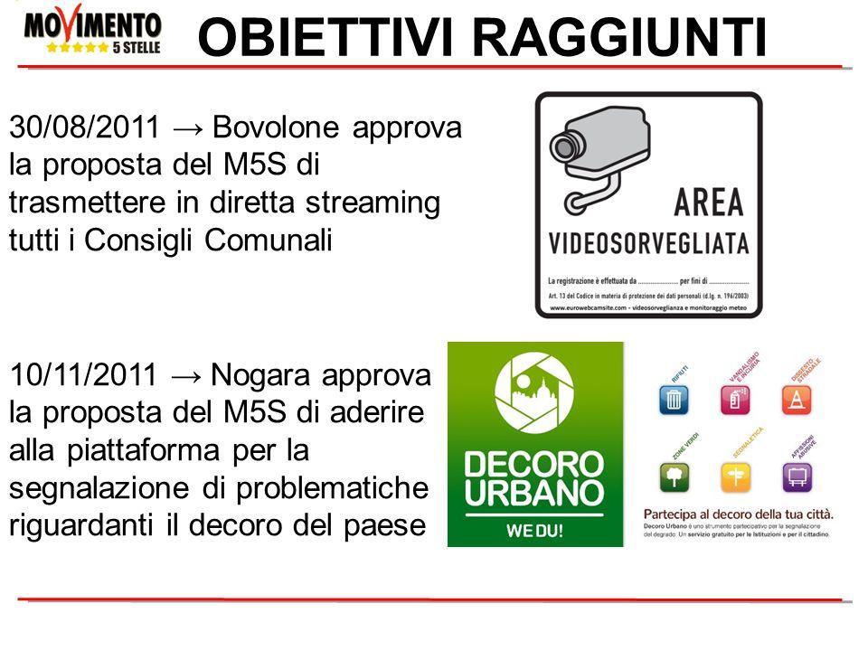 OBIETTIVI RAGGIUNTI 10/11/2011 Nogara approva la proposta del M5S di aderire alla piattaforma per la segnalazione di problematiche riguardanti il deco
