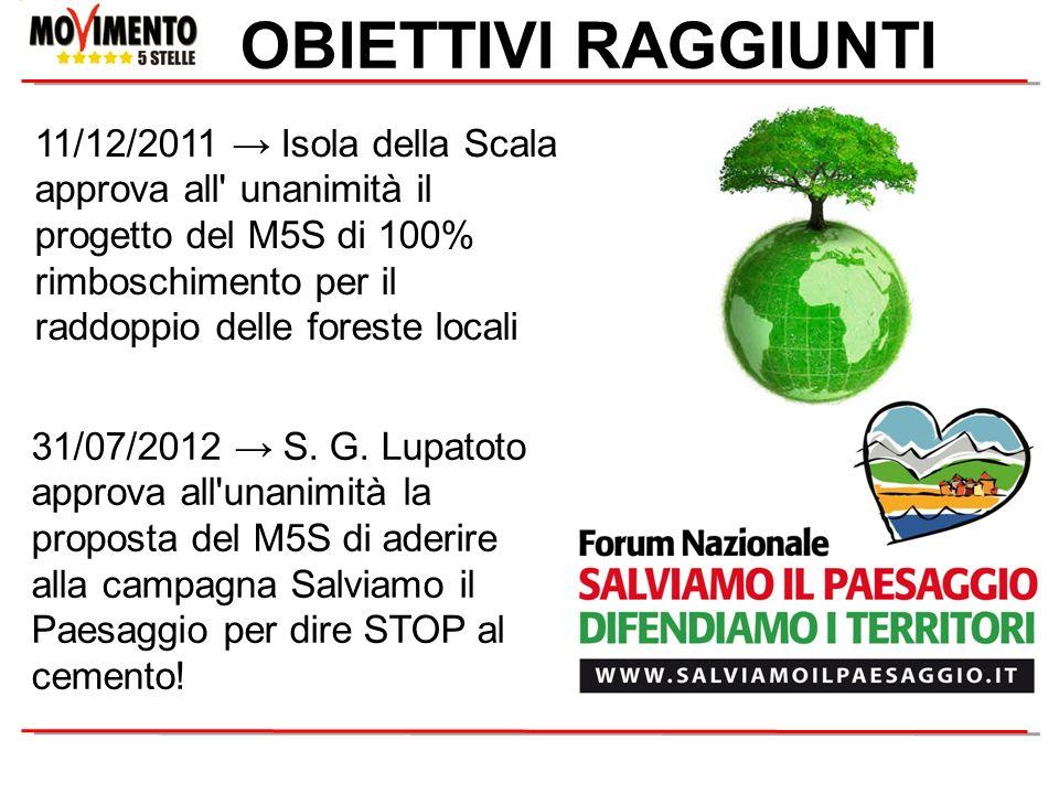 OBIETTIVI RAGGIUNTI 31/07/2012 S. G. Lupatoto approva all'unanimità la proposta del M5S di aderire alla campagna Salviamo il Paesaggio per dire STOP a