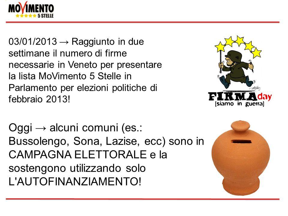 03/01/2013 Raggiunto in due settimane il numero di firme necessarie in Veneto per presentare la lista MoVimento 5 Stelle in Parlamento per elezioni po