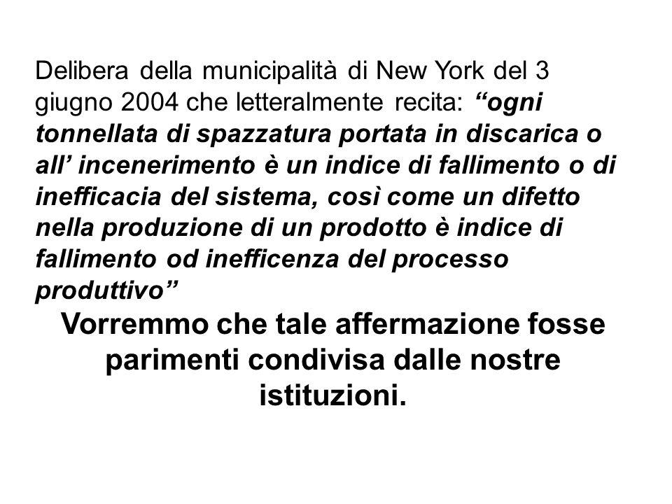 Delibera della municipalità di New York del 3 giugno 2004 che letteralmente recita: ogni tonnellata di spazzatura portata in discarica o all incenerim