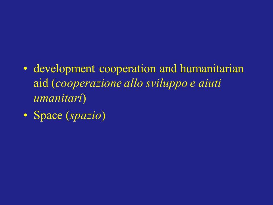 development cooperation and humanitarian aid (cooperazione allo sviluppo e aiuti umanitari) Space (spazio)