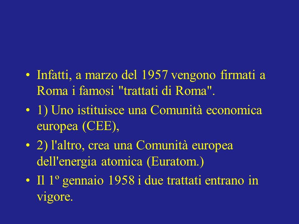 Infatti, a marzo del 1957 vengono firmati a Roma i famosi trattati di Roma .