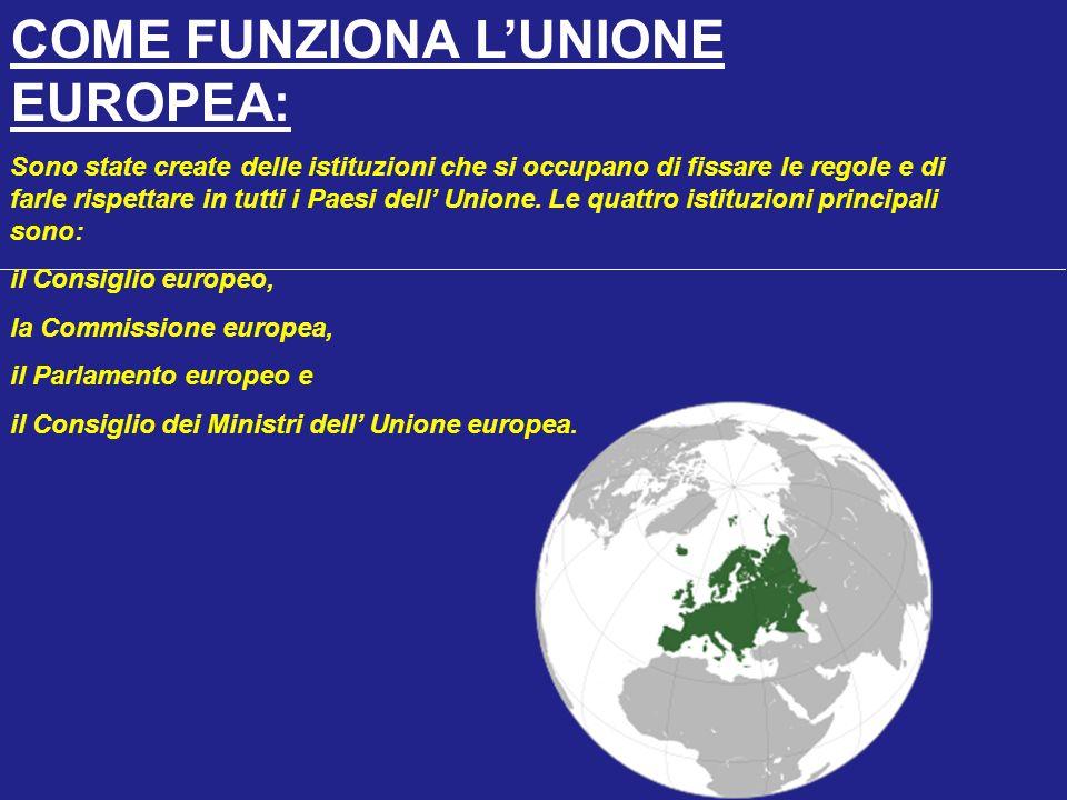 COME FUNZIONA LUNIONE EUROPEA: Sono state create delle istituzioni che si occupano di fissare le regole e di farle rispettare in tutti i Paesi dell Unione.