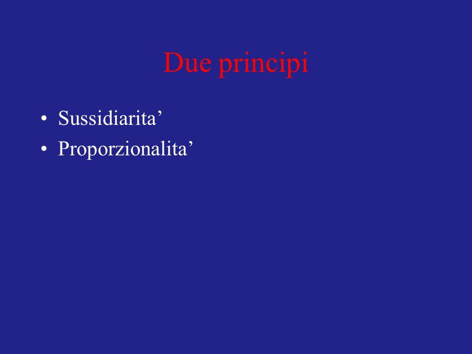 Due principi Sussidiarita Proporzionalita