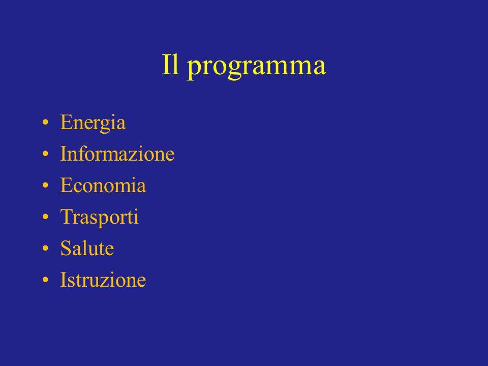 Il programma Energia Informazione Economia Trasporti Salute Istruzione