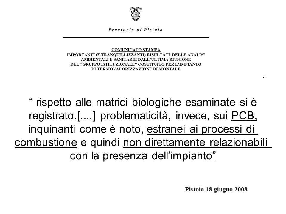 . rispetto alle matrici biologiche esaminate si è registrato.[....] problematicità, invece, sui PCB, inquinanti come è noto, estranei ai processi di c