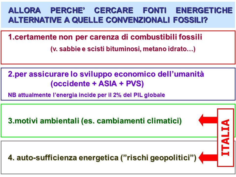 (v. sabbie e scisti bituminosi, metano idrato…) ALLORA PERCHE CERCARE FONTI ENERGETICHE ALTERNATIVE A QUELLE CONVENZIONALI FOSSILI? 2.per assicurare l