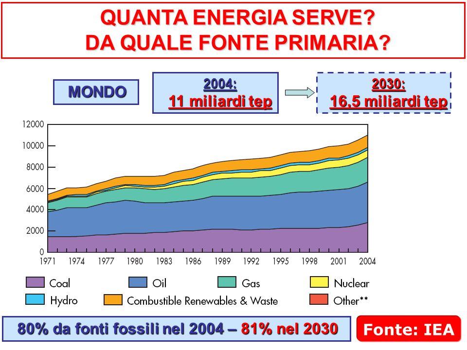 QUANTA ENERGIA SERVE? DA QUALE FONTE PRIMARIA? MONDO 2004: 11 miliardi tep 2030: 16,5 miliardi tep Fonte: IEA 80% da fonti fossili nel 2004 – 81% nel