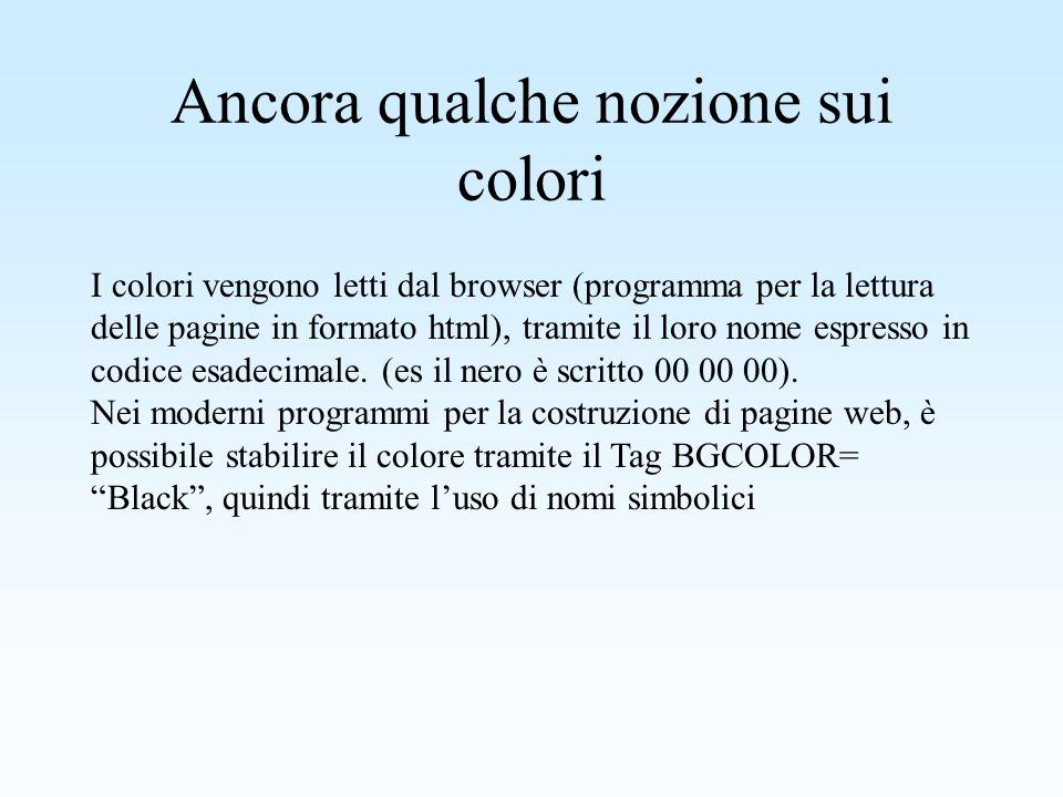 I colori nel linguaggio html Luso dei colori nel linguaggio html, è molto particolare in quanto vengono usato 3 colori base, il rosso, il verde ed il blu, e vengono indicati con il termine RGB ***,***,*** dove al posto degli asterischi vi sono valori compresi tra 0 - 255, e la modificazione di tali valori, modifica e le tonalità dei 3 colori base, che mischiati tra loro danno origine agli altri colori.