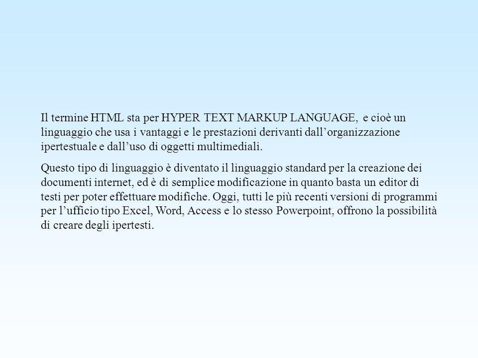 Il termine HTML sta per HYPER TEXT MARKUP LANGUAGE, e cioè un linguaggio che usa i vantaggi e le prestazioni derivanti dallorganizzazione ipertestuale e dalluso di oggetti multimediali.
