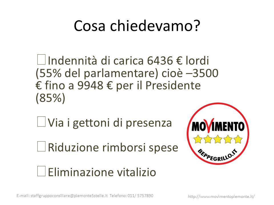 E-mail: staffgruppoconsiliare@piemonte5stelle.it Telefono: 011/ 5757890 http://www.movimentopiemonte.it/ Cosa chiedevamo? Indennità di carica 6436 lor