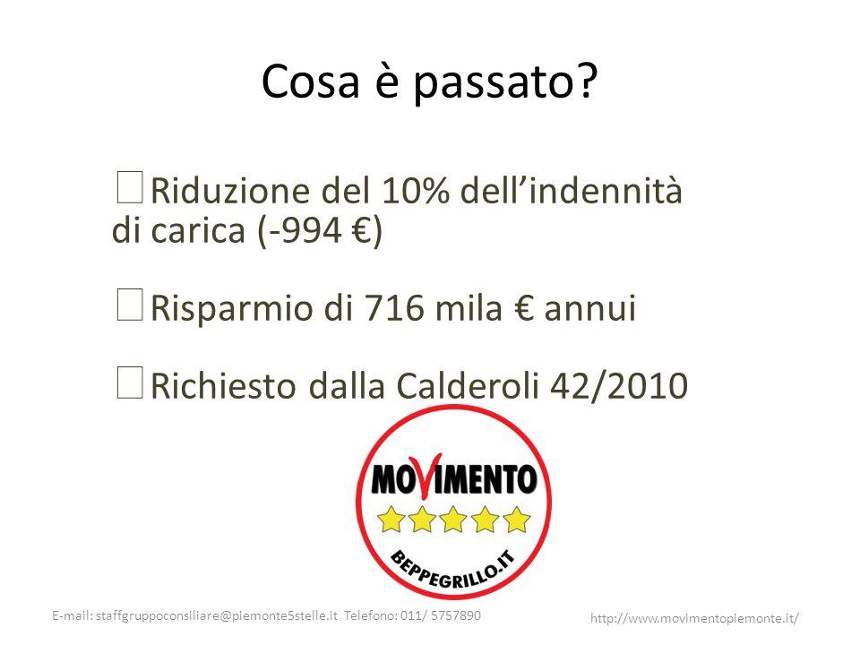 E-mail: staffgruppoconsiliare@piemonte5stelle.it Telefono: 011/ 5757890 http://www.movimentopiemonte.it/ Cosa è passato? Riduzione del 10% dellindenni