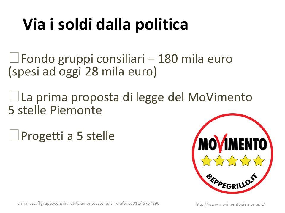 E-mail: staffgruppoconsiliare@piemonte5stelle.it Telefono: 011/ 5757890 http://www.movimentopiemonte.it/ Via i soldi dalla politica Fondo gruppi consi