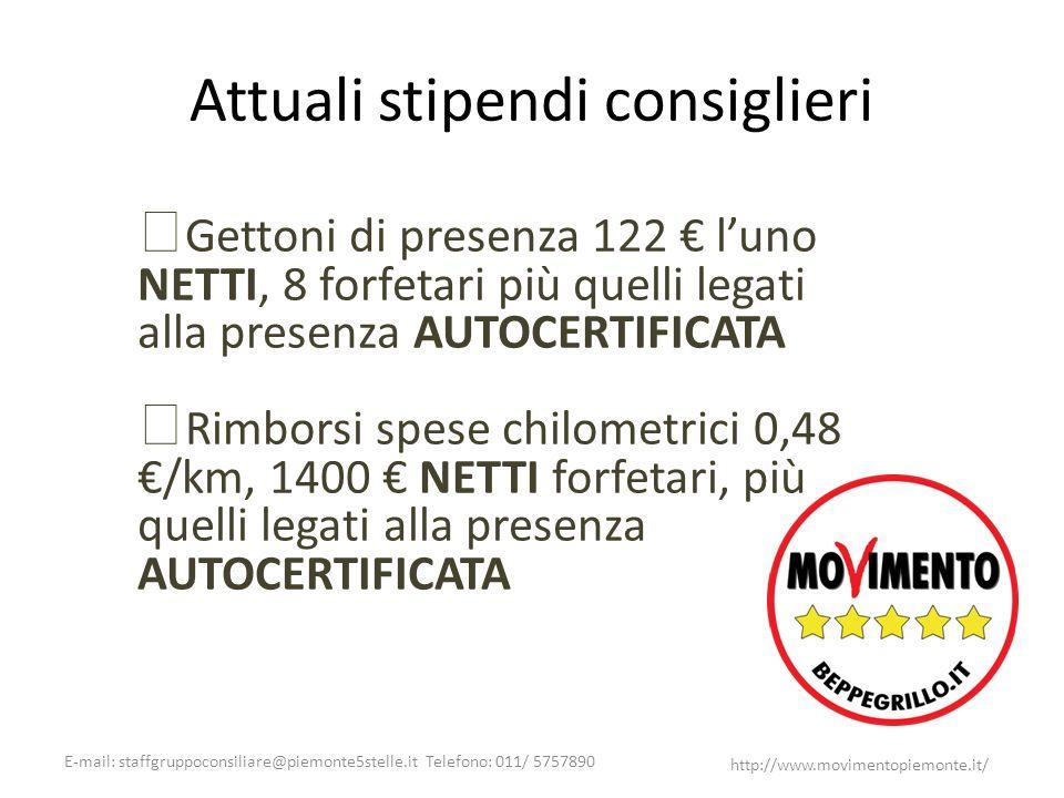 E-mail: staffgruppoconsiliare@piemonte5stelle.it Telefono: 011/ 5757890 http://www.movimentopiemonte.it/ Attuali stipendi consiglieri Gettoni di prese
