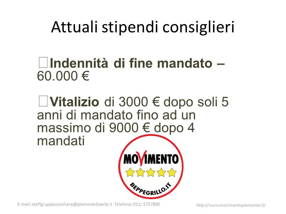 E-mail: staffgruppoconsiliare@piemonte5stelle.it Telefono: 011/ 5757890 http://www.movimentopiemonte.it/ Attuali stipendi consiglieri Indennità di fin