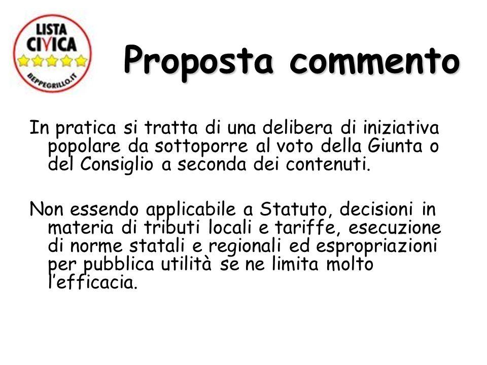 Proposta commento Proposta commento In pratica si tratta di una delibera di iniziativa popolare da sottoporre al voto della Giunta o del Consiglio a seconda dei contenuti.