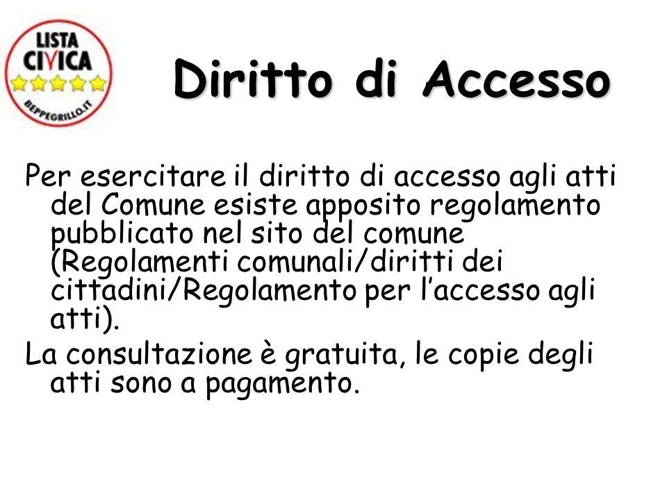 Diritto di Accesso Per esercitare il diritto di accesso agli atti del Comune esiste apposito regolamento pubblicato nel sito del comune (Regolamenti comunali/diritti dei cittadini/Regolamento per laccesso agli atti).