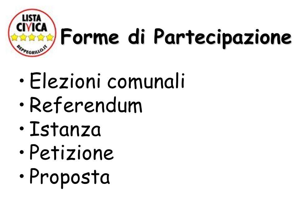 Forme di Partecipazione Forme di Partecipazione Elezioni comunali Referendum Istanza Petizione Proposta
