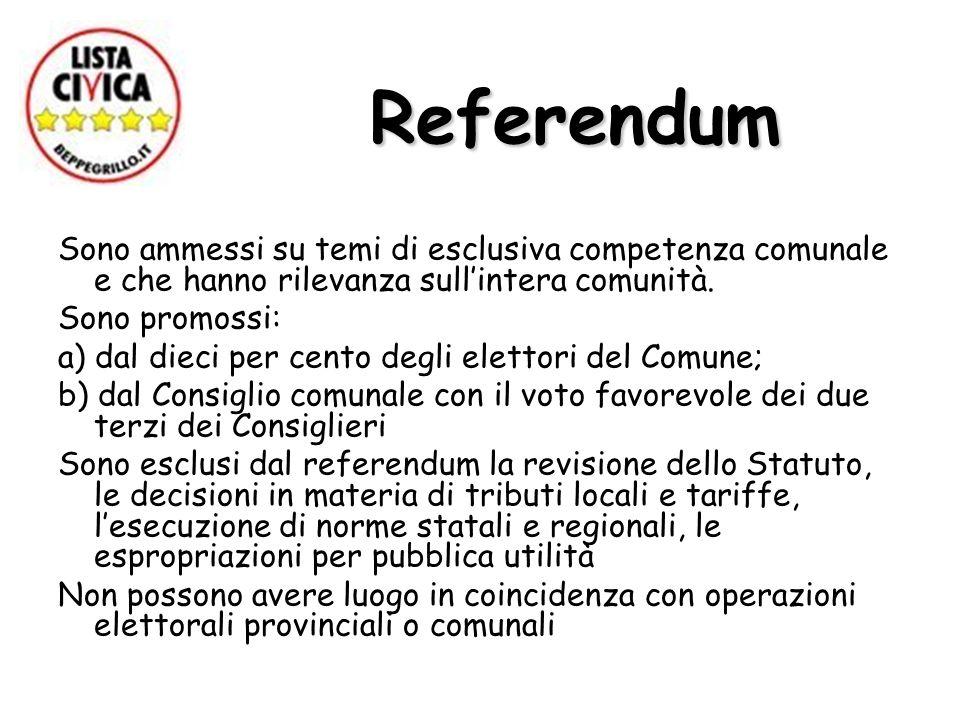 Referendum Referendum Sono ammessi su temi di esclusiva competenza comunale e che hanno rilevanza sullintera comunità.